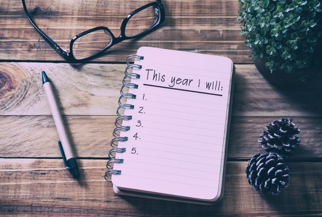"2018 notebook, with ""This year I will"" written on top page."